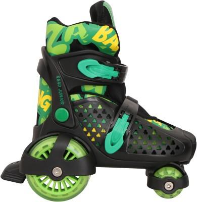 Nivia Junior Quad Roller Skates - Size 30-33 Euro(Black, Green) at flipkart