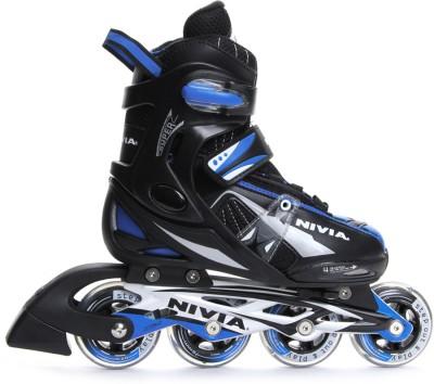 Nivia Super Roller In-line Skates - Size 2.5-5.5 UK(Black, Blue)