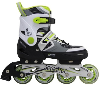 COCKATOO Small In-line Skates - Size 6-8 UK(Green, White)