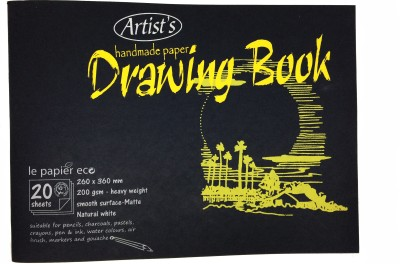 Creates   Designs Artist's Handmade Paper Drawing Book Big Sketch Pad Black, 20 Sheets