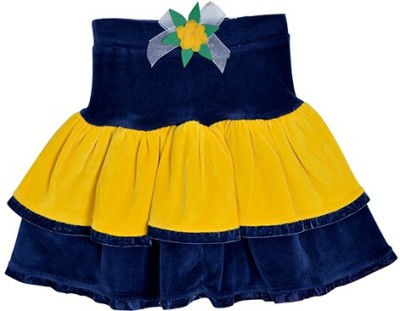 Lil Orchids Solid Girls Tiered Blue Skirt at flipkart