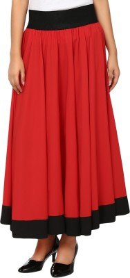 Natty India Solid Women A line Red, Black Skirt Natty India Women's Skirts
