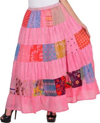 VS Fashion Printed Women A-line Pink Skirt