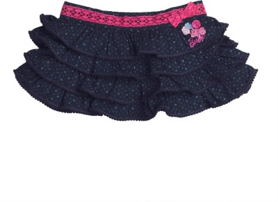 Barbie Embroidered Girls A-line Blue, Pink Skirt