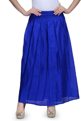 Natty India Solid Women Pleated Blue Skirt Natty India Women\'s Skirts