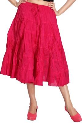 Carrel Solid Women Broomstick Pink Skirt Carrel Women's Skirts