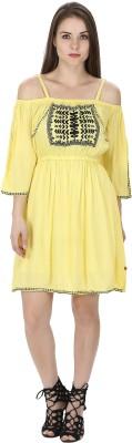Vishakha Creation Embroidered Women A-line Yellow, Black Skirt
