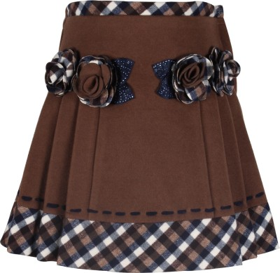 Cutecumber Checkered Girls A-line Brown Skirt at flipkart