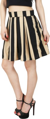 Natty India Striped Women Pleated Black, Beige Skirt Natty India Women's Skirts