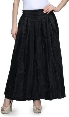 Park Avenue Solid Women Pleated Black Skirt