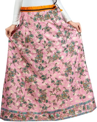 Admyrin Self Design Women Wrap Around Pink Skirt at flipkart