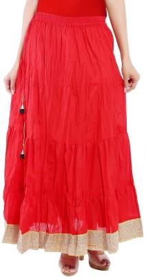 Decot Paradise Solid Women Regular Red Skirt