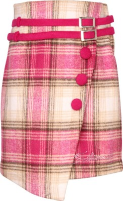 Cutecumber Checkered Girls A-line Pink Skirt  available at flipkart for Rs.510
