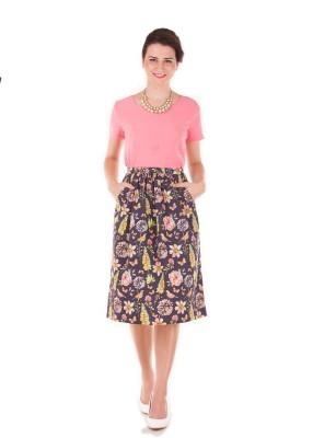 Band Box Floral Print Women Regular Blue Skirt at flipkart