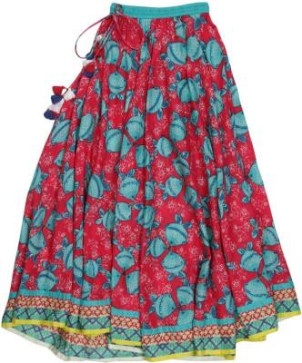 BIBA girls Printed Girls A-line Blue, Red Skirt