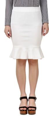 Texco Solid Women Peplum White Skirt