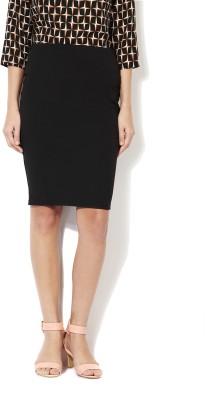 Van Heusen Solid Women Straight Black Skirt at flipkart