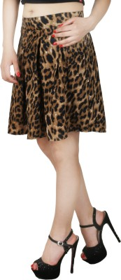 Natty India Animal Print Women Pleated Brown Skirt Natty India Women's Skirts