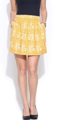 Vero Moda Printed Women A-line Yellow Skirt at flipkart
