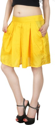 Natty India Solid Women Pleated Yellow Skirt Natty India Women's Skirts