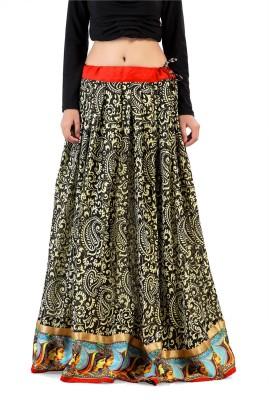 Admyrin Printed Women Wrap Around Black Skirt at flipkart