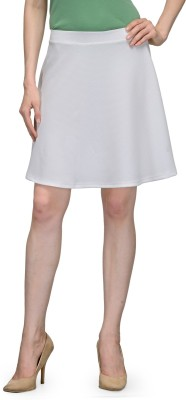 Being Fab Solid Women Regular White Skirt