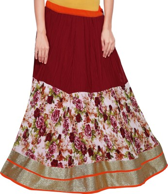 Admyrin Printed Women Wrap Around Maroon Skirt at flipkart