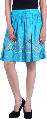 Reme Embellished Women Pleated Blue Skirt at flipkart