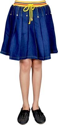 Neeya Fashions Solid Girls A-line Dark Blue, Yellow Skirt