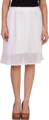 Carrel Solid Women A-line White Skirt