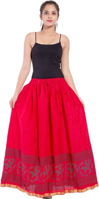 Magnus Solid Women Regular Red Skirt