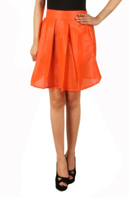Natty India Solid Women Pleated Orange Skirt Natty India Women's Skirts
