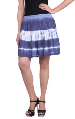 Reme Printed Women Pleated Blue, White Skirt at flipkart