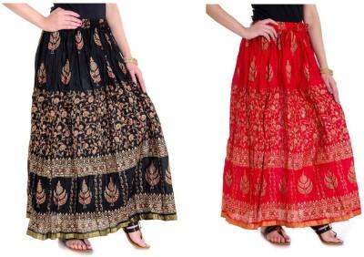 Jainsons Printed Women A-line Black Skirt