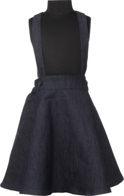 Le Luxe Self Design Girls A-line Blue Skirt
