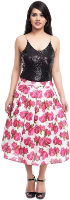 Zoys Floral Print Women's Pleated Red, White Skirt