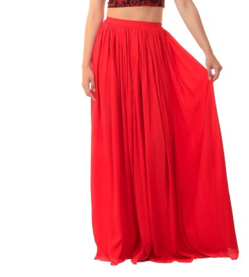 Scorpius Solid Women Gathered Red Skirt