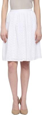 Honey By Pantaloons Embroidered Women Straight White Skirt at flipkart