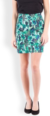 Tokyo Talkies Printed Women Pencil Green Skirt at flipkart