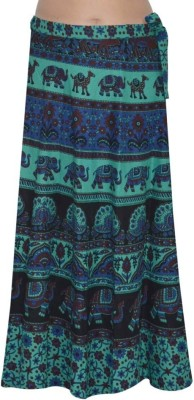 MDS Jeans Animal Print Women's Wrap Around Light Blue, Black Skirt