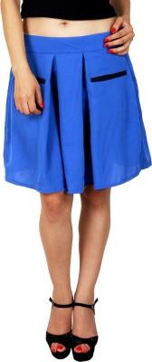 Natty India Solid Women Pleated Blue Skirt Natty India Women's Skirts