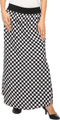 Natty India Checkered Women A line White, Black Skirt Natty India Women's Skirts