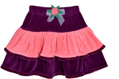 Lil Orchids Solid Baby Girls Tiered Purple Skirt  available at flipkart for Rs.279
