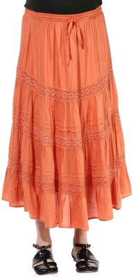 Oxolloxo Solid Women A-line Orange Skirt at flipkart
