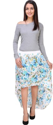 Zoys Floral Print Women Asymetric Multicolor Skirt at flipkart