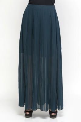 Oxolloxo Solid Women Pleated Light Blue Skirt at flipkart