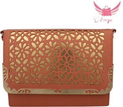 Freya Women Orange PU, Leatherette Sling Bag