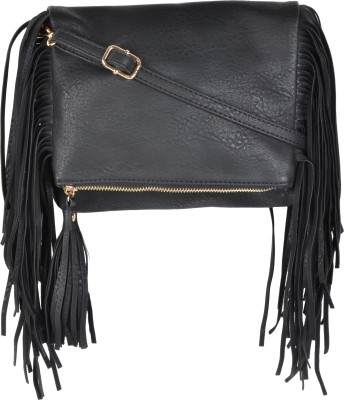 Kleio Women Black Leatherette Sling Bag at flipkart