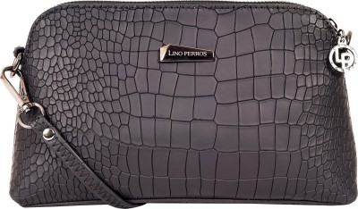 Lino Perros Women Black Leatherette Sling Bag at flipkart