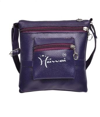 Hawai Men & Women Casual Purple PU Sling Bag